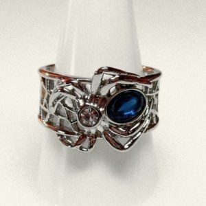 Ring Size 9 Spider Simulated Diamond Sapphire 296